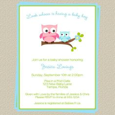 it's a boy pictures for a baby OWL shower | Boy Owl Baby Shower Invitations, Set of 10 Invitations and envelopes ...
