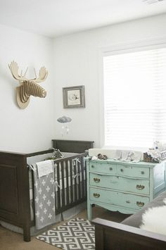 Gray nursery with a pop of turquoise (and Baby Jives Co gray starry mobile)