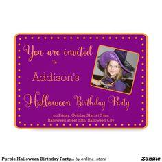 Purple Halloween Birthday Party Invitations Photo