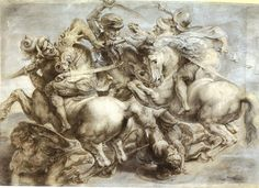 Peter_Paul_Ruben's_copy_of_the_lost_Battle_of_Anghi  Le 18 octobre 1503, il retourne à Florence où il remplit les fonctions d'ingénieur de guerre  , d'architecte et d'ingénieur hydraulicien. Il se réinscrit à la guilde de saint Luc et passe deux années à préparer et faire La bataille d'Anghiari (1503-1505), une fresque murale imposante7 de sept mètres sur dix-sept, avec Michel-Ange faisant La bataille de Cascina sur la paroi opposée Les deux œuvres seront perdues