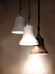 A gorgeous modern ceramic bell-shaped pendant light with a luxurious braided… Cool Lighting, Modern Lighting, Lighting Design, Pendant Lighting, Ceramica Exterior, Italian Lighting, Wall Lights, Ceiling Lights, Ceramic Pendant