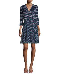 DIANE VON FURSTENBERG Diane Von Furstenberg Irina Silk Zen Flora Wrap Dress, Midnight. #dianevonfurstenberg #cloth #