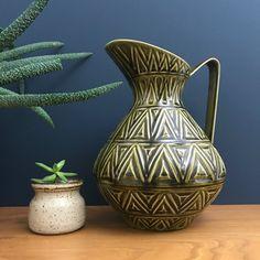Vintage Celtic Ceramic Green Jug #1015/29R Celtic Green, County Clare, Vintage Sideboard, Ireland, Mid Century, Pottery, Ceramics, Ceramica, Ceramica