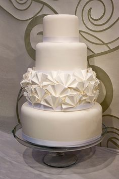 White Ruffle Wedding Cake by Sucre Coeur - Eats & Ink, via Flickr