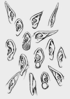 How to Draw Manga Style Ears - Drawing Here You are in the right place about ma. - How to Draw Manga Style Ears – Drawing Here You are in the right place about manga leer Here w - Body Reference Drawing, Art Reference Poses, Drawing Female Body, Anime Drawings Sketches, Pencil Art Drawings, How To Draw Ears, How To Draw Mouths, Drawing Expressions, Art Poses