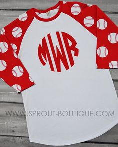4e5310d75c3 Baseball Sleeve Printed Raglan - Red. Sprout Boutique