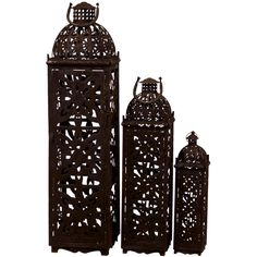 Urban Trends 3 Piece Metal Lantern Set (140 AUD) ❤ liked on Polyvore featuring home, home decor, candles & candleholders, outside candles, outdoor home decor, set of 3 candles, outside home decor and metal home decor