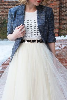 "Poor Little It Girl - Anthropologie Tulle Skirt, J.Crew ""Me Me Me"" Tee, Piperlime Blue Metallic Blazer."