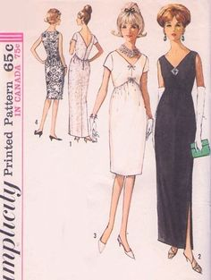 1960s Evening Dress Pattern Simplicity 5322 Classy Audrey V Neck, Back Shaped Dipped Empire Cocktail Party Dress Special Occasion Bust 32 Vintage Sewing Pattern