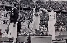 """Helene Mayer the """"token jew"""" on the German 1936 Berlin Olympic team saluting the Nazis while winning silver for fencing. 1936 Olympics, Berlin Olympics, Summer Olympics, Olympic Committee, Olympic Team, Olympic Games, Olympia, Fencing Club, Germany"""