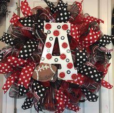 Bling Arkansas Razorback Wreath by GlitzyGirlDesigns on Etsy https://www.etsy.com/listing/161528471/bling-arkansas-razorback-wreath