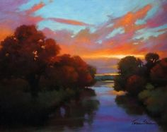 Sunset Afire by Teresa Saia Pastel ~ 22 x 28
