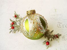 Christmas Ornament Faberge Inspired glass ball by SilverOwlStudio Green Christmas, Christmas Balls, Christmas Diy, Hand Painted Ornaments, Glass Ornaments, Vintage Christmas Ornaments, Christmas Decorations, Metallic Colors, Glass Ball