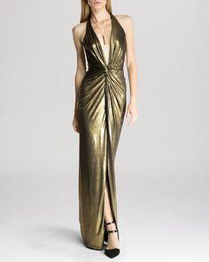 HALSTON HERITAGE Gown - Twist Front Metallic Halter | Bloomingdale's