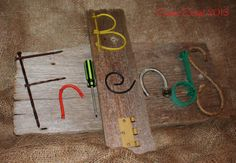 "#scenicscript #rustic #sign #barnboard #diy #homedecor #name #surname #kidsname #wood #metal #letters #alphabet #friends #scrabble  ""Bee Friends"" - created for a customer as a Christmas gift for a friend of hers (whose name is Bea - who loves bees - and loves Scrabble) - hence the Scrabble configuration of the sign. Check us out at www.facebook.com/ScenicScript"
