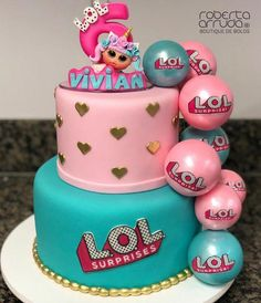 Lol Surprise Party Decorations: Check Out Ideas And Photos Here Doll Birthday Cake, Funny Birthday Cakes, 7th Birthday Party Ideas, 5th Birthday, Surprise Birthday, Lol Doll Cake, Surprise Cake, Doll Party, Girl Cakes