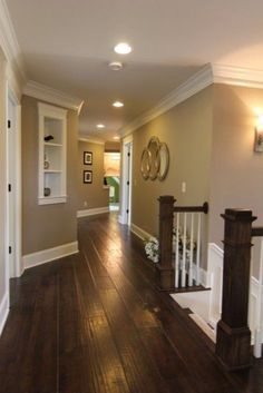 dark floors white trim warm walls i want to do this color combination but add the black doors. Black Bedroom Furniture Sets. Home Design Ideas