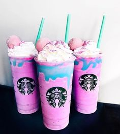 🦄 Drink dreams do come true 😭 Just not in Aussie Starbucks 👎🏽 Might have to make a DYI drank 😝 Snap via Starbucks Frappuccino, Copo Starbucks, Bebidas Do Starbucks, Starbucks Secret Menu Drinks, Summer Drinks, Fun Drinks, Tumblr Cafe, Unicorn Foods, Coffee Recipes
