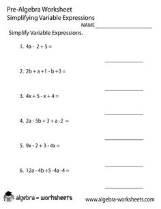 Printables Free Pre Algebra Worksheets algebra worksheets and on pinterest free variable expressions pre worksheet printable you can download print solve online