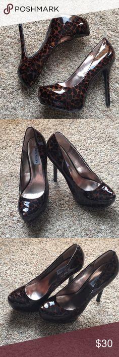 Steve Madden cheetah print high heels size 9.5 Never worn Steve Madden cheetah print leather heels Steve Madden Shoes Heels
