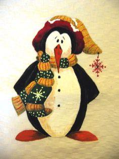Natale country painting - pinguino con sciarpa e cappello