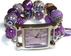 Perfectly Purple Chunky Beaded Watch  by BeadsnTime on Etsy