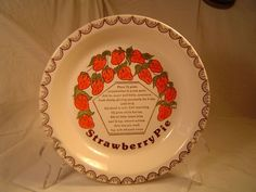 "ceramic ""Strawberry Pie Recipe"" plate"