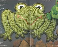 "CROCHET PATTERN ONLY - Frog Rug - 23"" x 27"" - Rug yarn - Great for child's room"