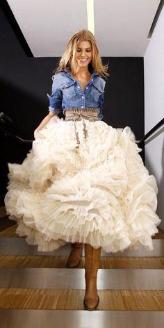 If I could own only one outfit, yep, this would be it.    denim & layered full tulle skirt...and the cowboy boots