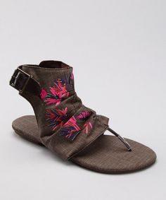37feee41b54e MUK LUKS Chocolate Cutout Gladiator Sandal