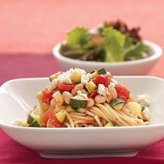 Tender spaghetti noodles capture the fresh taste of the chunky bean and vegetable sauce, while a sprinkling of feta cheese adds a...