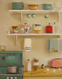 Janet Hill, Contemporary, Canadian artist. 'Hooks Under Shelves' retro look