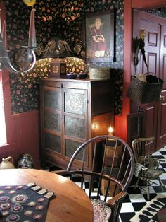 Primitive furniture and candlelight