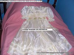 heirloom smocked silk flower girl gown $150 ring 0427820744 size 4 years