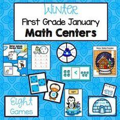Winter Math Games for January - First Grade Centers - 8 games! Centers First Grade, Math Centers, Teaching First Grade, First Grade Math, Fun Math Activities, Math Games, Elementary Math, January, Classroom Ideas