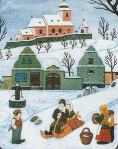 Czech Republic, Illustrations Posters, Illustrators, The Past, Clip Art, Christmas, Cards, Pictures, Painting