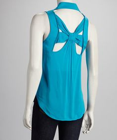 Take a look at this Blue Open-Back Sleeveless Top by Available on #zulily today!$12.99, regular 31.00