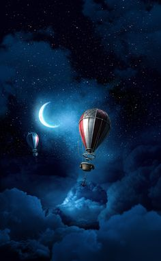 Sometimes the Moon is full of hot air lol. Air Balloon Rides, Hot Air Balloon, Cute Wallpapers, Wallpaper Backgrounds, Wallpaper Art, Moon Magic, Moon Art, Stars And Moon, Oeuvre D'art
