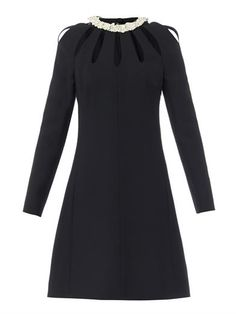 Valentino LEATHER-COLLAR WOOL-BLEND DRESS