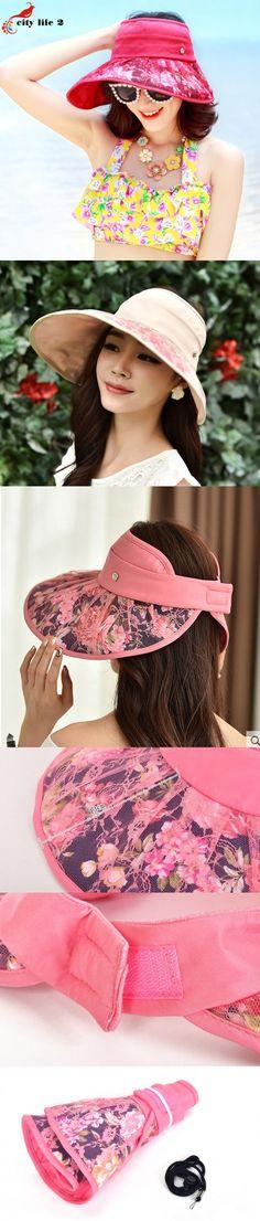 Outdoors Folding Sun Hat For Women 2016 New Cappelli Donna Estivi Spring And Summer Sun Beach Hat Anti-Uv Floral Print Cap $17.24