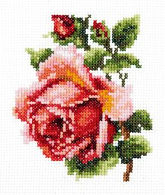 cross stitch - inspiration only Beaded Cross, Crochet Cross, Cross Stitch Rose, Cross Stitch Flowers, Cross Stitching, Cross Stitch Embroidery, Cross Stitch Designs, Cross Stitch Patterns, Hand Embroidery Kits