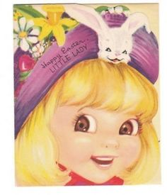 Vintage Easter card - little girl in bunny bonnet