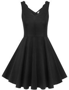 #transformer elesol women summer v neck beach sundress pretty fit flare midi dress blackm