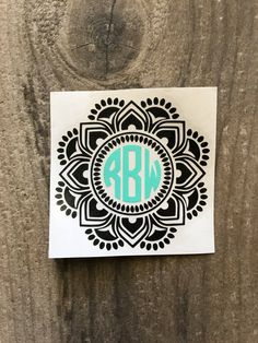 Two Color Solid Color Mandala Monogram Sticker Decal / Yeti Monogram Decorative Mandala Sticker / Car Decal / Patterned Monogram Laptop
