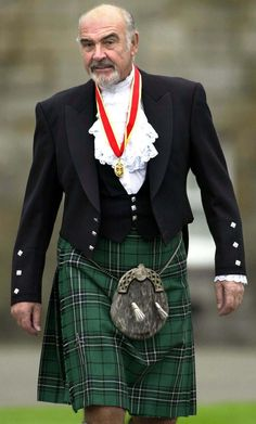 Sean Connery in Prince Charlie Formal Dress::Best wool tartan kilt with sporran, tux shirt, Prince Charlie vest and jacket. Love a man in a kilt - especially when the man is Sean Connery. Sean Connery, Tweed, Scottish Man, Scottish Quotes, Scottish Dress, Scottish Clothing, Scottish Gaelic, Scottish Fashion, Scottish Tartans