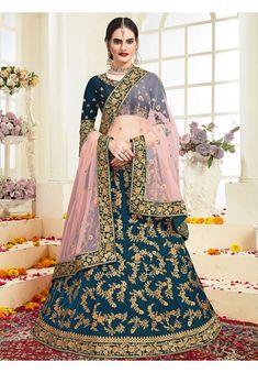 Peacock Blue Velvet Bridal Lehenga Choli with Net Dupatta Ghagra Choli, Bridal Lehenga Choli, Bridal Lehenga Online, Blue Lehenga, Hand Work Embroidery, Peacock Blue, Blue Velvet, Designer Collection, Indian Wear