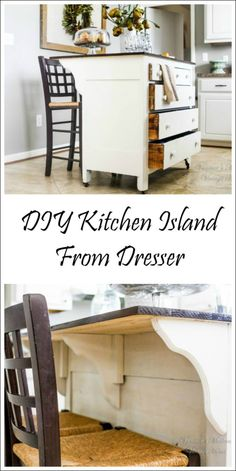 DIY Home Improvement Projects On A Budget - DIY Kitchen Island From Dresser - Cool Home Improvement Hacks, Easy and Cheap Do It Yourself Tutorials for Updating and Renovating Your House - Home Decor Tips and Tricks, Remodeling and Decorating Hacks - DIY P Dresser Kitchen Island, Kitchen Ikea, Diy Kitchen Island, Kitchen Small, Space Kitchen, Bar Kitchen, Kitchen Decor, How To Build Kitchen Island, Kitchen Storage Furniture