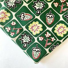 Adorable Green Mid Century Vintage Barkcloth Fabric With Strawberries And Leaves  | eBay