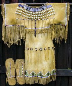 Replica of one of Quanah Parker's Daughter's dress. Quanah's Father was Comanche Chief Peta Nocona and Mother was Nautdah (Cynthia Ann Parker.) Quanah had 8 wives and 24 children.
