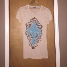 Burnout Tee Adorable tan and turquoise burnout tee! Size: Medium PLEASE ASK AND QUESTIONS!!  Tops Tees - Short Sleeve